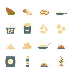 cartoon color potato icons set vector image vector image