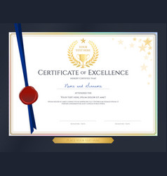 elegant certificate template for excellence vector image