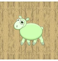 Green cartoon sheep on wood background vector image vector image