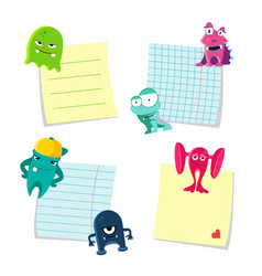 small notes with shadows set kept by cute vector image