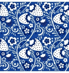 Winter strawberry pattern in Khokhloma style vector image vector image