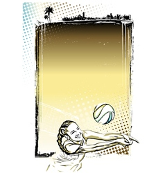 beach volley poster background vector image vector image