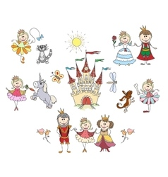 Children drawings for little girl vector image vector image