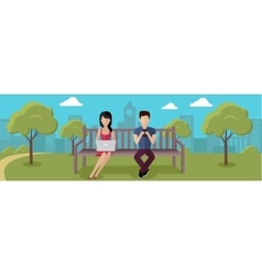 Internet Addiction Concept in Flat Design vector image vector image