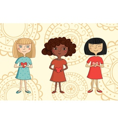 multicultural girls with hearts vector image