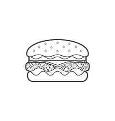 outline fast food hamburger icon vector image