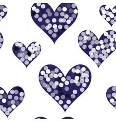 snowflakes on dark hearts vector image vector image