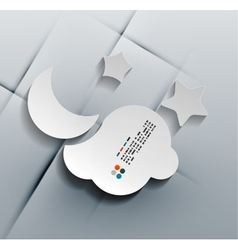 3d paper cloud and moon vector image