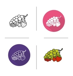 Berries flat design linear and color icons set vector image vector image