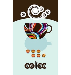 Coffee beans steam over cup Flyer banner menu vector image