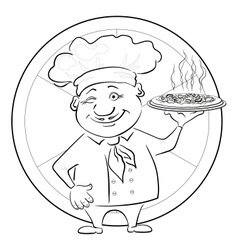 Cook with pizza outline vector image vector image