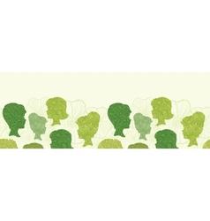 Girl profiles horizontal seamless pattern vector image