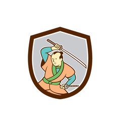 Samurai Warrior Katana Sword Shield Cartoon vector image vector image