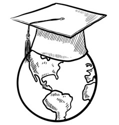 doodle earth graduation cap vector image vector image