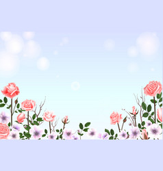 greeting card with roses delicate buds flowers vector image vector image