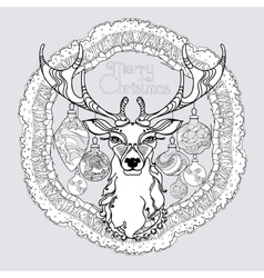hand drawn mandala with winter decorative vector image
