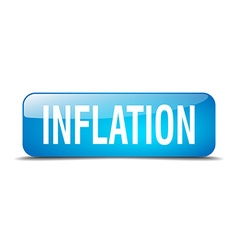 inflation blue square 3d realistic isolated web vector image vector image