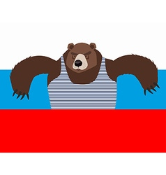 Russian patriot bear and Russia flag Wild animal vector image