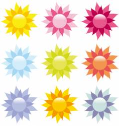 shiny flower icons vector image