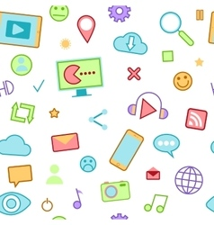 Social Media Icons with Emoticons and Internet vector image