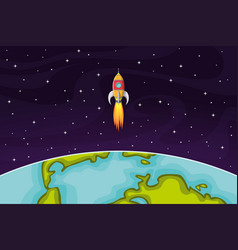 Space rocket flying in space out of the earth vector