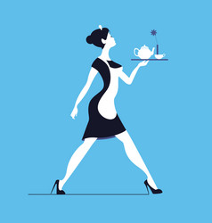 waitress on blue background slender woman vector image