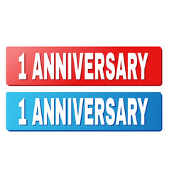 1 anniversary caption on blue and red rectangle vector