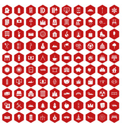 100 villa icons hexagon red vector