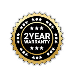 2 years of warranty sticker isolated golden seal vector image