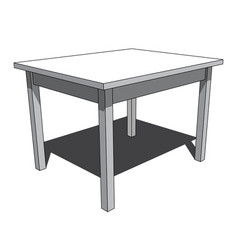 3d image - simple isolated desk vector image