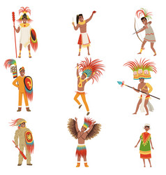 Aztec warriors set men in traditional clothes and vector