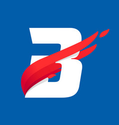 B letter logo with fast speed red bird wing vector