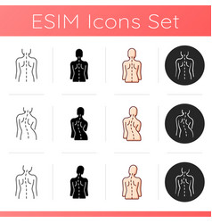 Back and posture problems icons set vector