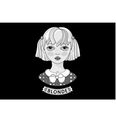 Beautiful blonde black and white image vector