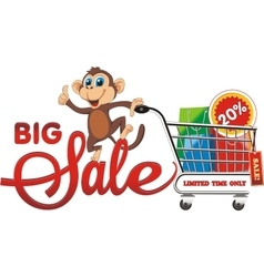 Big sale Monkey with purchases The 20 discount vector