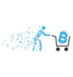 Bitcoin shopping cart dissolved pixel icon vector