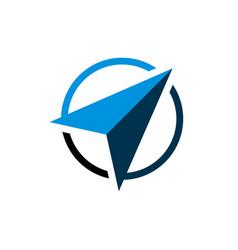 Blue arrow navigate compass logo template design vector