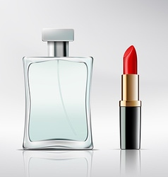 Bottle of perfume and lipstick vector