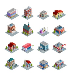 Building Isometric Icons Set vector