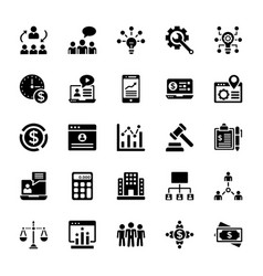 business services glyph icons vector image