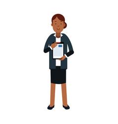 Businesswoman cartoon character in elegant vector