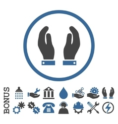 Care Hands Flat Rounded Icon With Bonus vector image