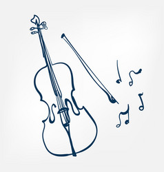 cello sketch isolated design vector image
