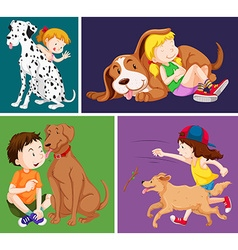 Children and cute dogs vector
