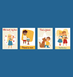 Children with pets friendship cards vector