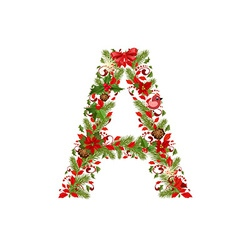 Christmas floral tree letter A vector