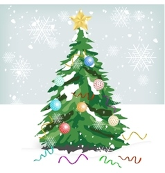 Christmas tree with colorful ornaments vector image