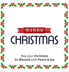christmas typographic with cherries frame vector image