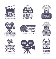 Cinema labels set badges with black pictures at vector