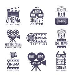 cinema labels set badges with black pictures vector image